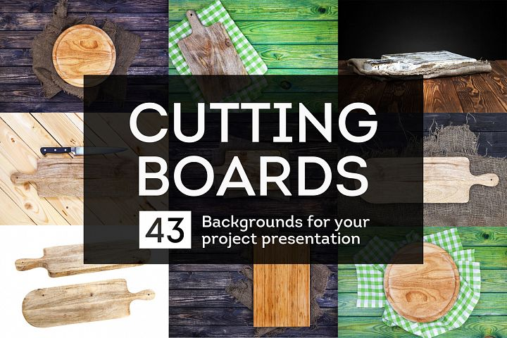 Cutting boards collection. Backgrounds for food presentation