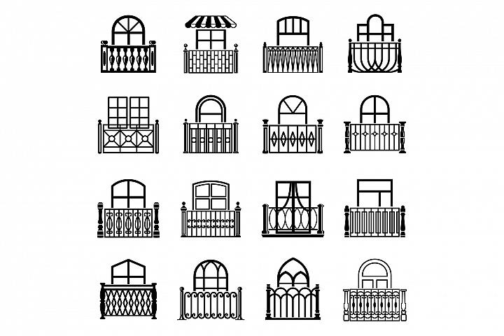 Balcony window icons set, simple style