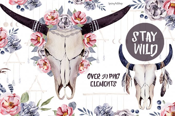 Stay wild boho skulls & watercolor bouquets