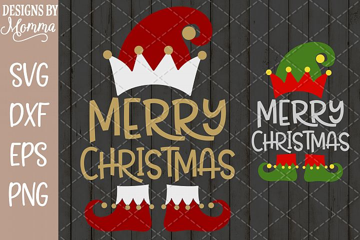 Merry Christmas Elf Red Green Gold SVG