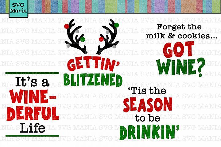 Funny Christmas Wine Glass SVG Bundle, Wine Glass Decal SVG