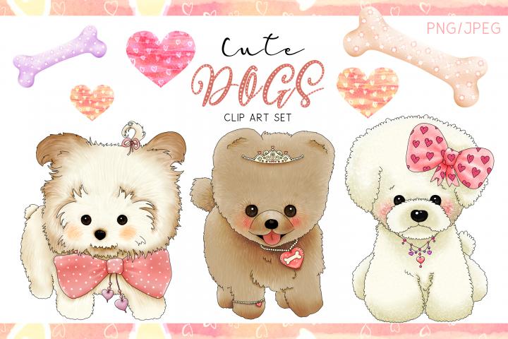 Cute Dogs | Designer Clip Art Set| PNG/JPEG Illustrations