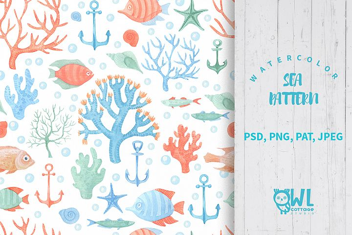 Sea Life Watercolor Seamless Pattern example 1