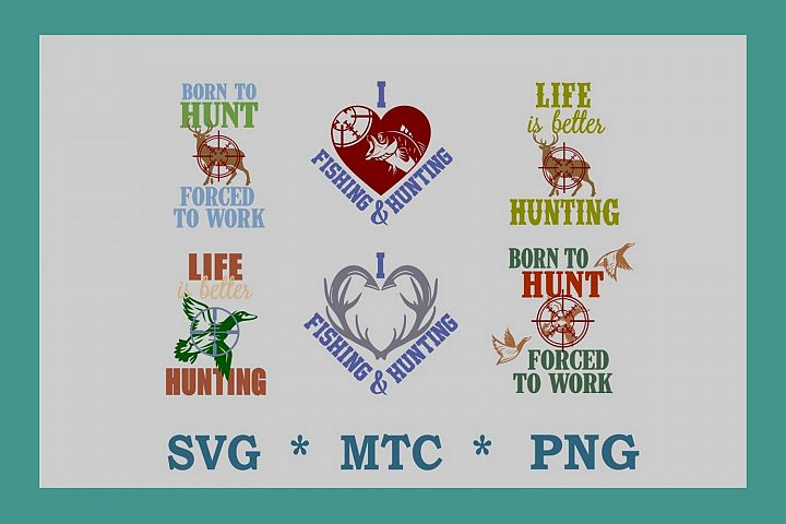 Hunting Bundle #01 PNG DESIGN SVG 6 Cut Files