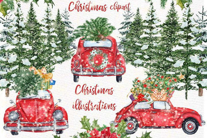Watercolor Christmas Cars Clipart,Red Beetle ,Pine Forest
