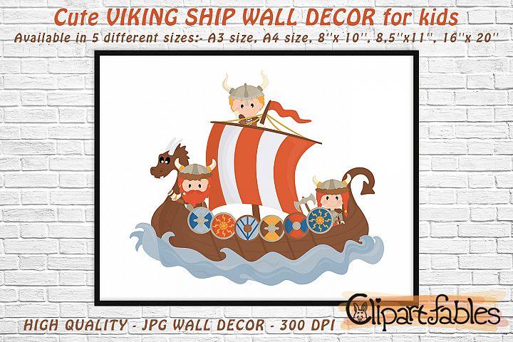 Cute VIKING SHIP, Digital print, INSTANT wall decor for kids