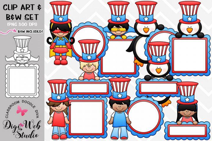 Clip Art / Illustrations - Patriotic Message Board Mix