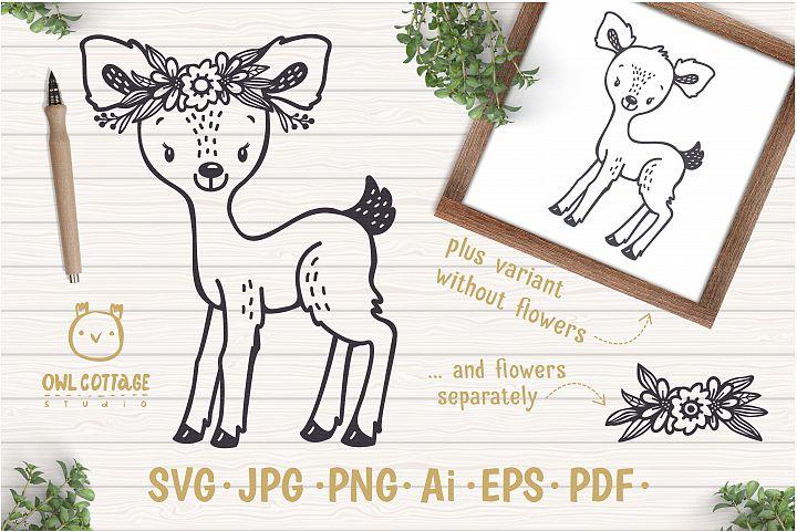 Baby Deer with Flowers Crown Svg , Favn Cut File