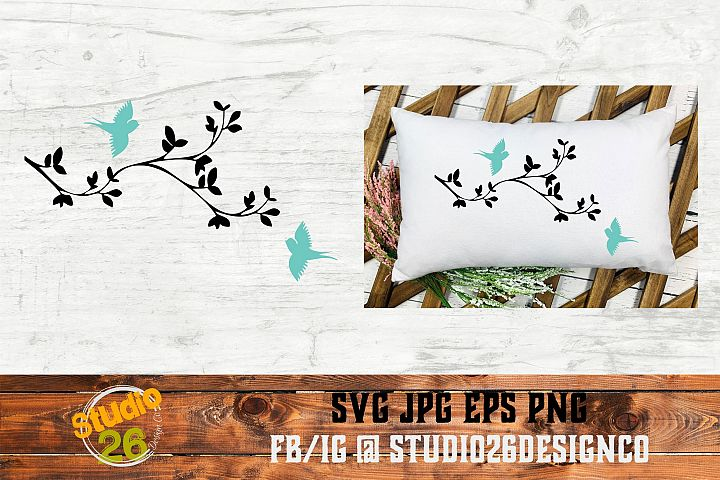 Cherry Blossoms and Birds - SVG PNG EPS