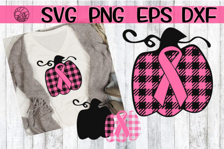 Pink Ribbon - Pumpkin - Buffalo Plaid - SVG PNG DXF EPS
