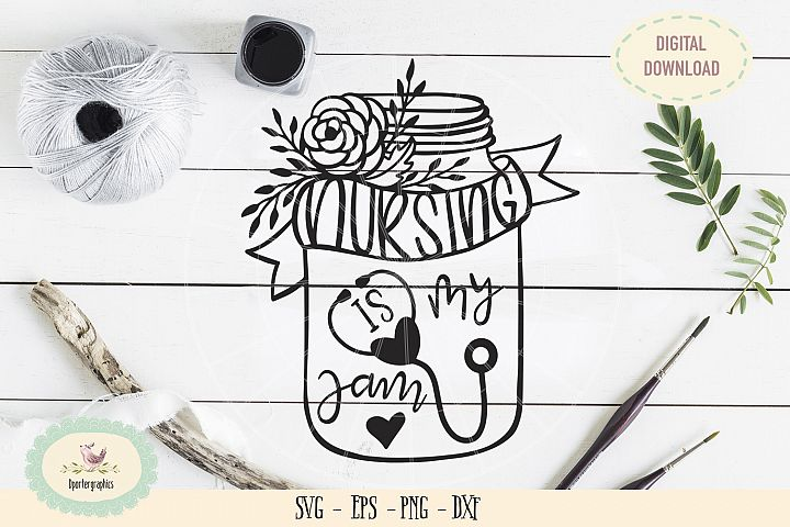 Nursing is my jam SVG PNG hand lettered