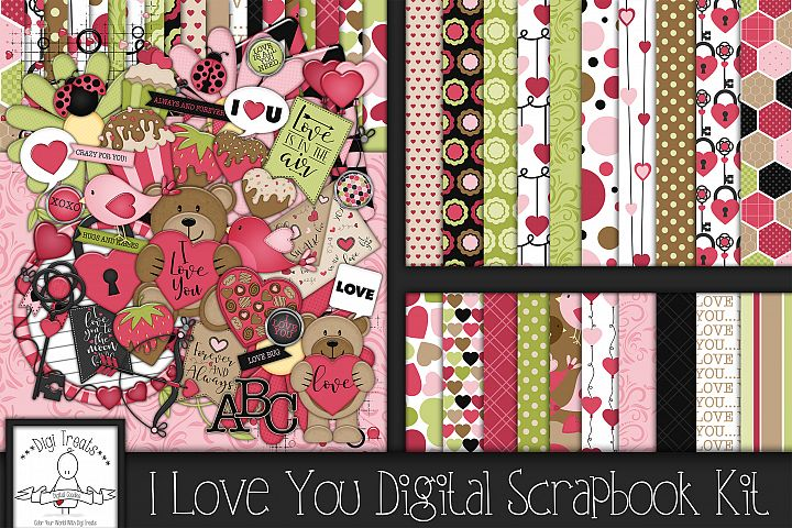 I Love You Digital Scrapbook Kit