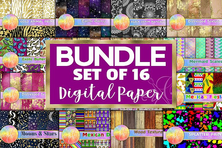BUNDLE Digital Paper, Set of 16 Themes, Digital Background