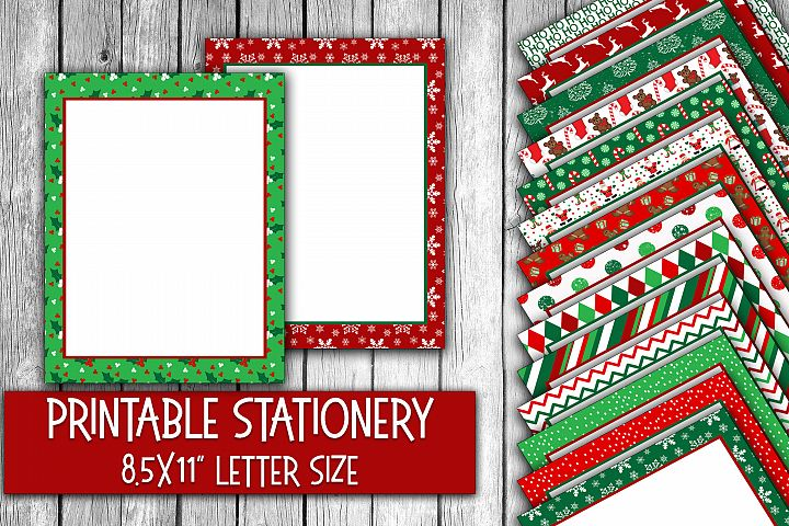 Christmas Stationery - Red and Green Digital Paper