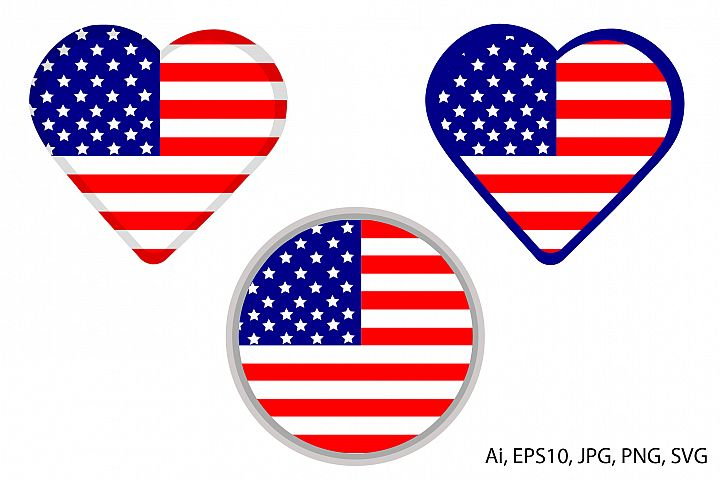 American flag. Heart and circle. 4th of July. SVG