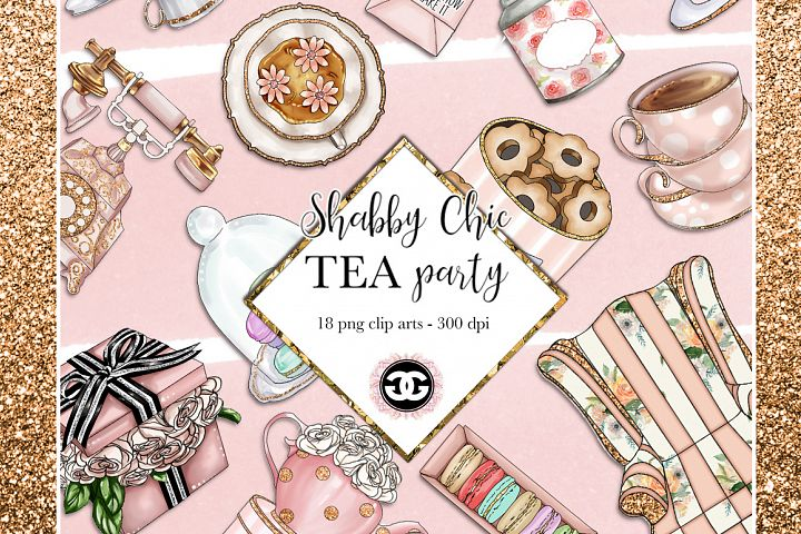 Shabby Chic Tea Party - 18 handmade png clip arts - 300 dpi