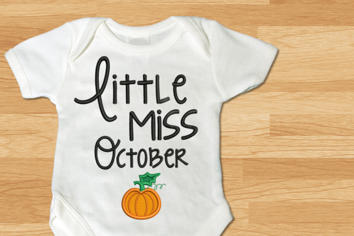 Little Miss October Pumpkin Applique Embroidery Design