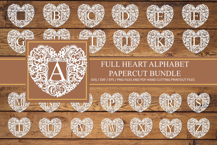 Full alphabet, heart paper cut Bundle. SVG / DXF / EPS / PNG