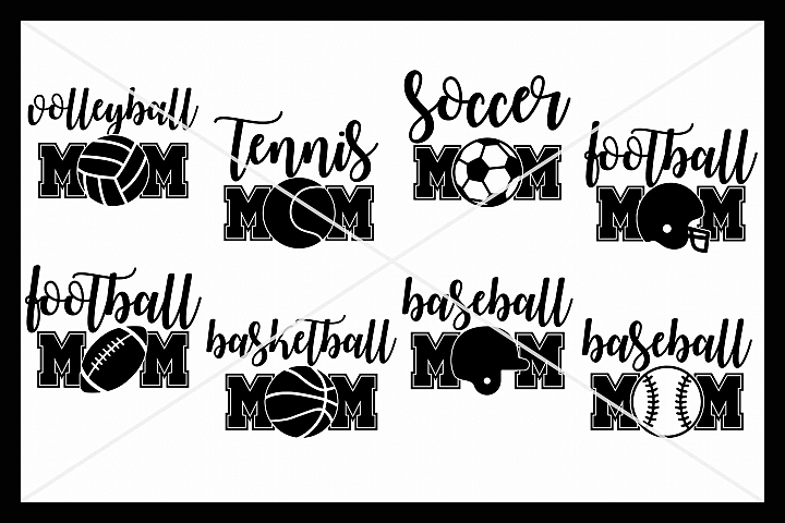 Sports, Mom, Bundle, SVG, Silhouette Cameo, Cricut, Cut
