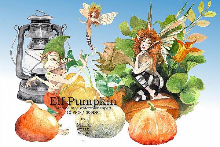 Elf pumpkin watercolor clip art