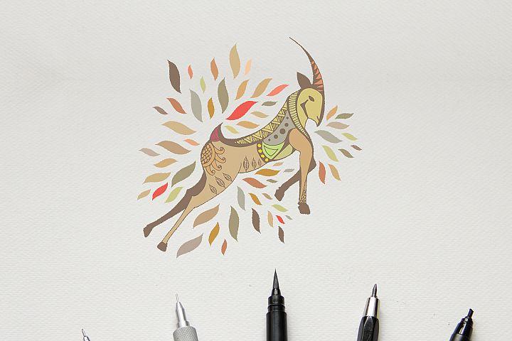 Boho | Bohemian Hand Drawn Ibex | SVG | PNG | EPS
