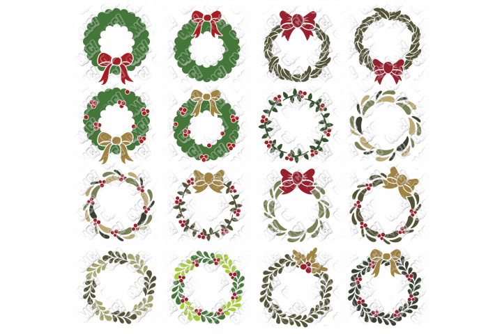 Christmas Wreath SVG Monogram in SVG, DXF, PNG, EPS, JPEG