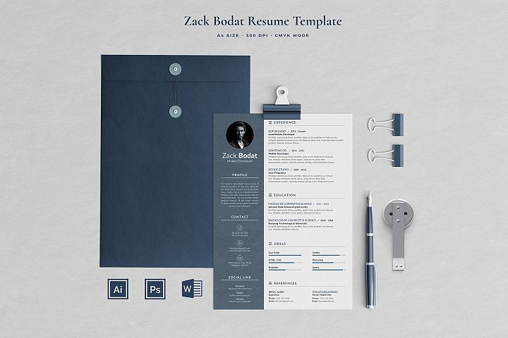 Zack Resume with Cover Letter Professional Template