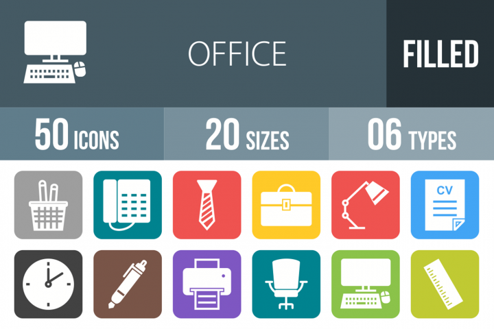 50 Office Filled Round Corner Icons