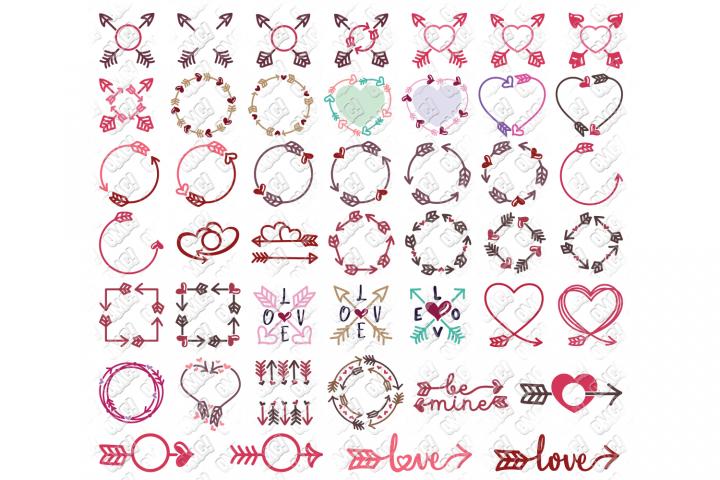 Valentine Arrow SVG Bundle Monogram SVG, DXF, PNG, EPS, JPG