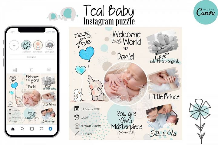 Instagram Puzzle Template - Birth Announcement