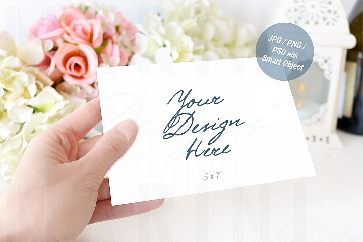 Horizontal card mockup, Wedding Invitation mockup, 945