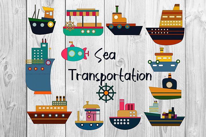 transportation clipart, Water transport illustration graphis