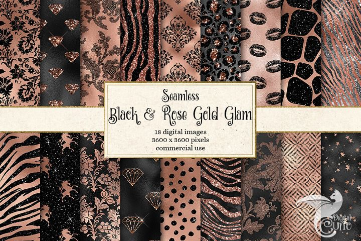Black and Rose Gold Glam Textures