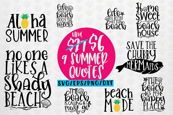 Summer Beach Bundles - 9 Svg EPS DXF PNG Cut File