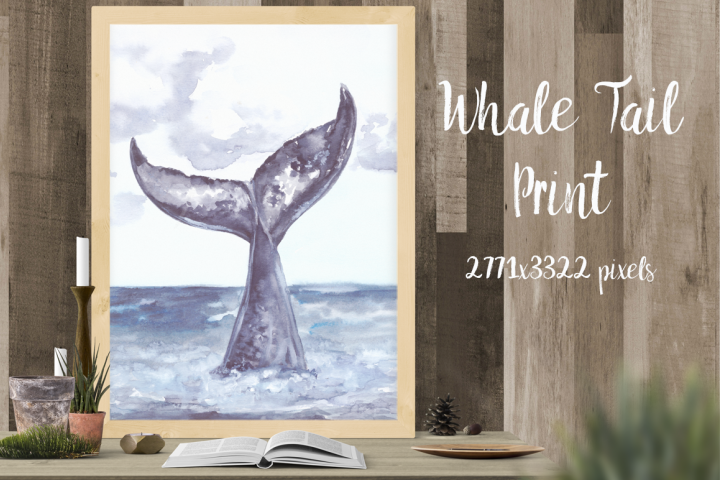 Whales Tail Watercolor Illustration