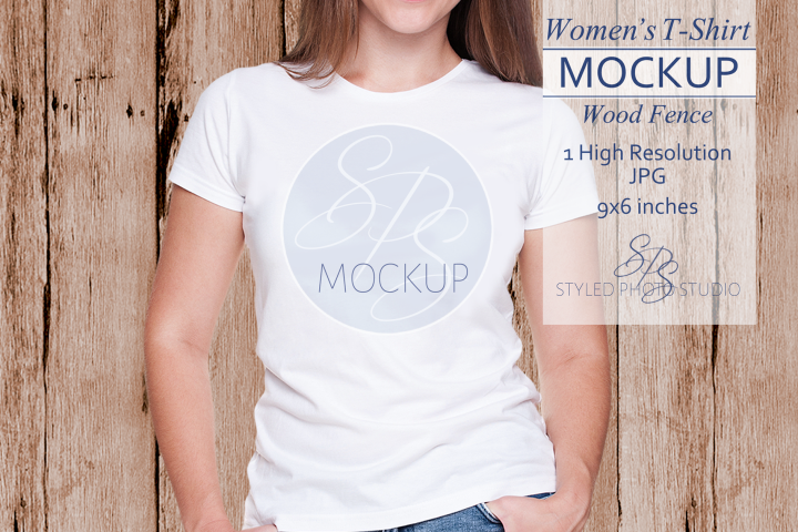 Womens White tshirt Mockup against a wood fence 3.2 Aspect
