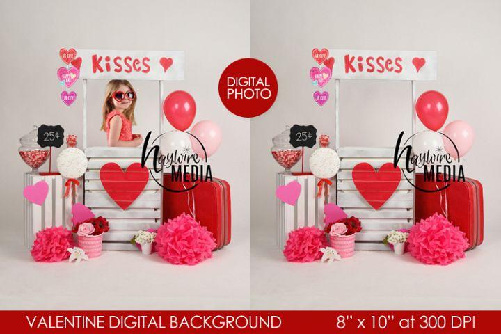 Kiss Booth Valentine Studio Digital Backdrop Photo
