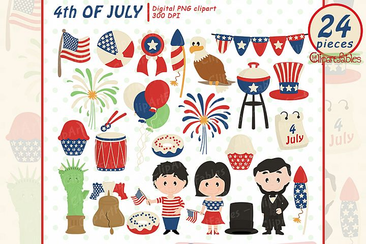 Happy INDEPENDENCE Day clipart, 4th of JULY clipart, USA art