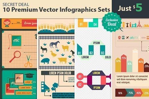 10 Premium Vector Infographics Sets