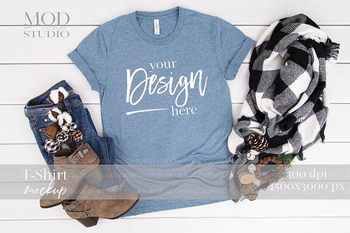 T-Shirt Mockup DENIM TRIBLEND | 3413 Bella and Canvas Mockup