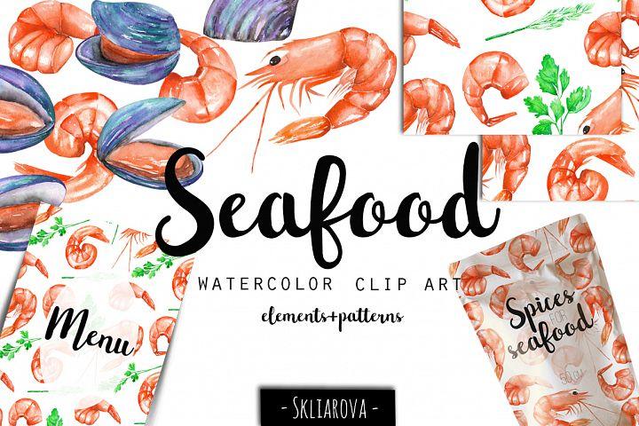 SeaFood. Watercolor clip art.
