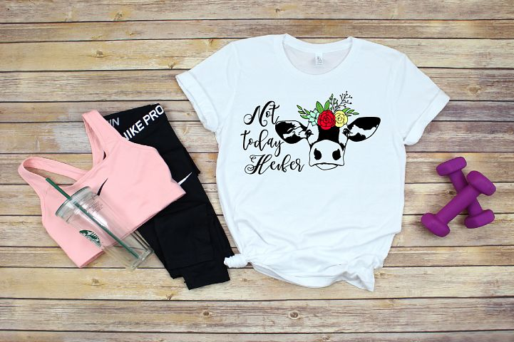 Cow Whit Flower SVG, Not today Heifer cattle 1384