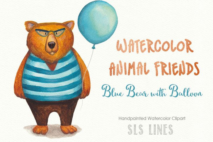 Blue Bear with Balloon Watercolor PNG