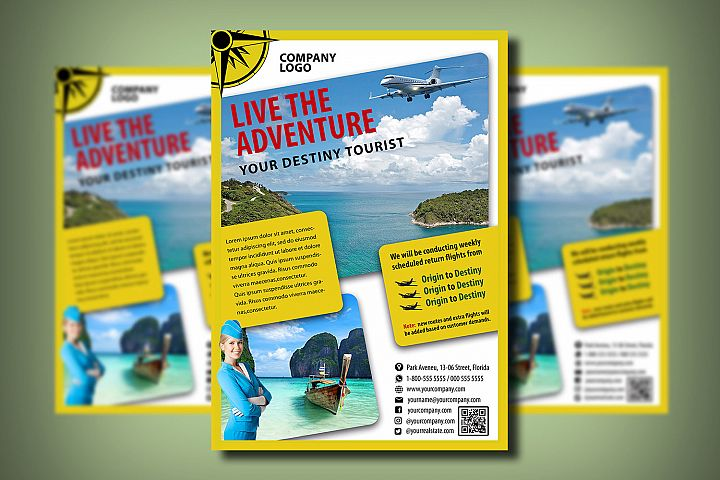 TOURISM FLYER TEMPLATE | Photoshop | Travel | Flying