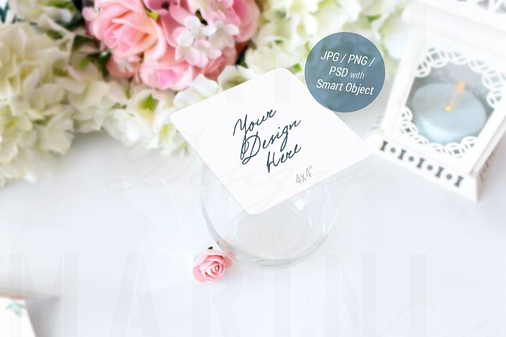 Drink Coaster Mockup, Wedding Mockup, Square coaster, 943_B