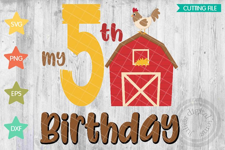 Farm birthday, Barn birthday, 5th Birthday SVG