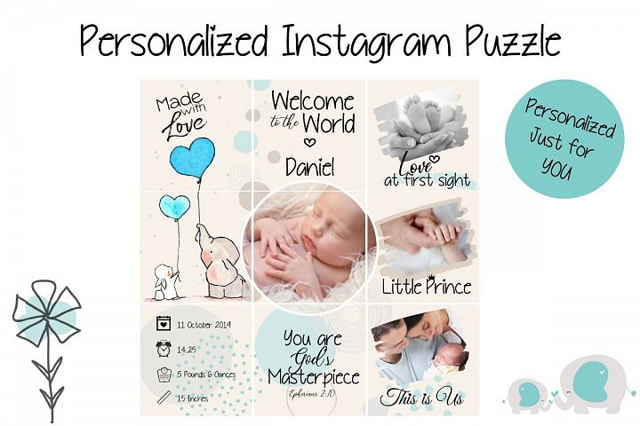 Personalized Instagram Puzzle - Baby Boy