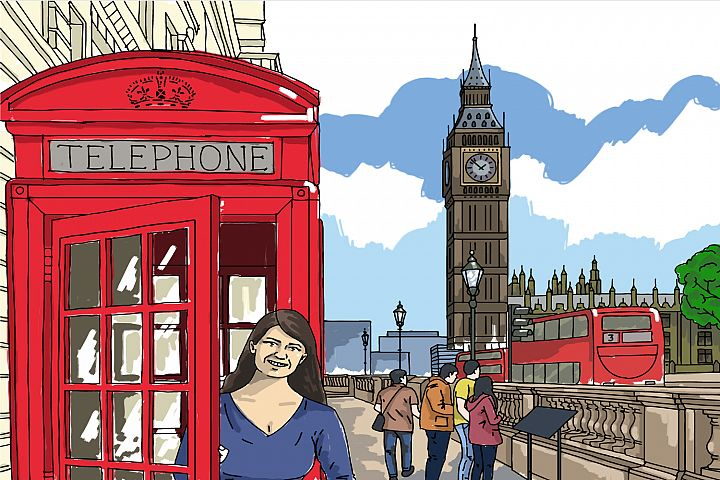 London illustration hand painted vector