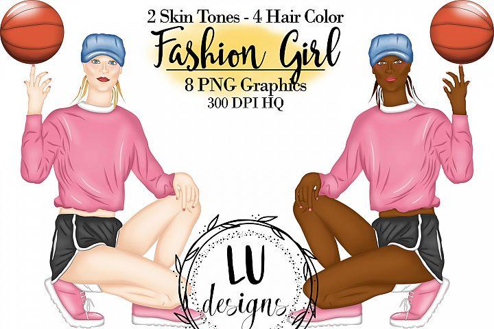 Basketball Clipart, Fashion Girl, Sport Girl Clipart, Basket
