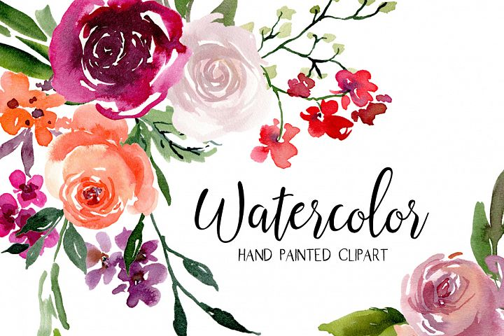 Bright Watercolor Flowers Bouquets Wreaths PNG